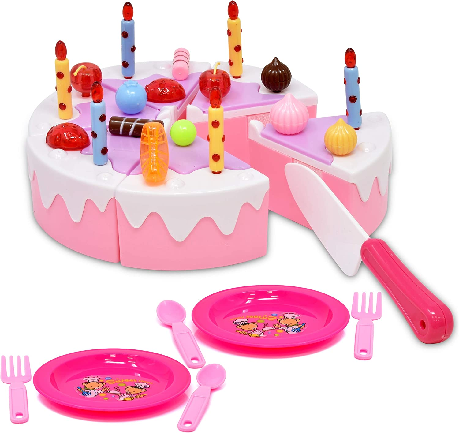 Number 1 in Gadgets Birthday Cake Toy for Kids, Pretend Play Party Food Set Cutting Dessert with Candles, Plates Forks, Princess Party Playset