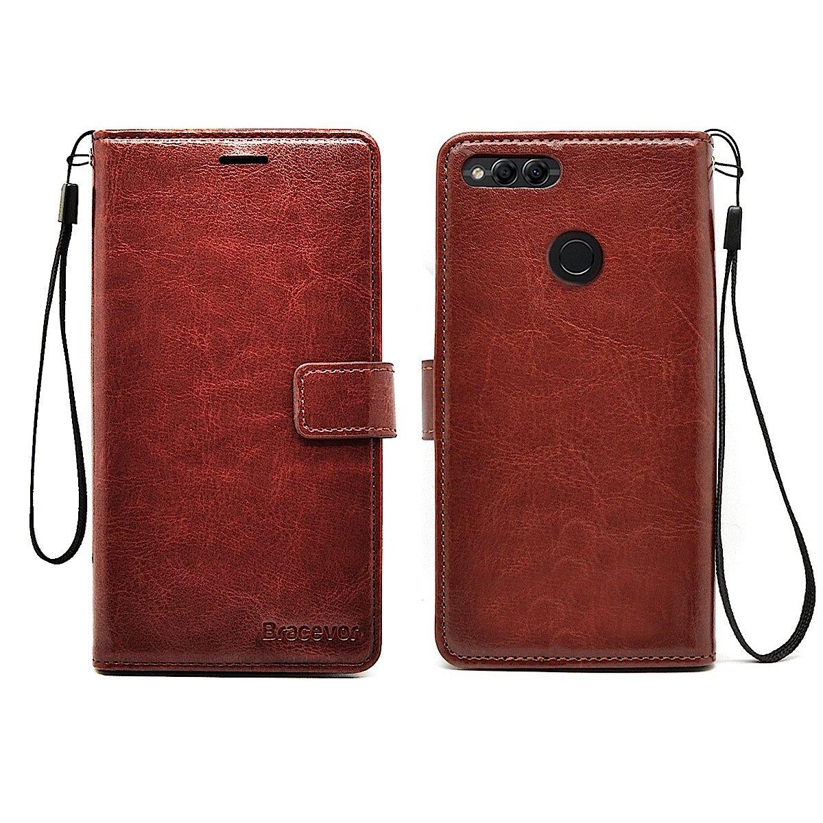 size 40 181ae bae2e Bracevor Inner TPU Leather Flip Cover Case for Huawei Honor 7X : -  Executive Brown