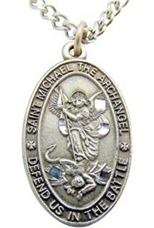 Amazon mens saint michael pendant necklace 20 jewelry saint michael pewter medal oval pendant 1 inch on 24 inch stainless steel chain gift aloadofball Choice Image