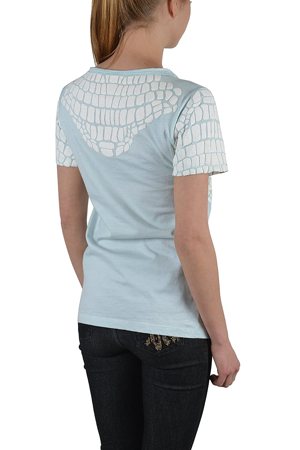Just Cavalli Light Blue Distressed Short Sleeves Women's Blouse Top US S IT 40