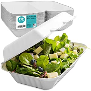 """[50 Pack] 9x6x3"""" Clamshell Food Containers with 1 Compartment - Compostable Take Out Box, 100% Biodegradable Bagasse To Go Platters with Lid - Eco-friendly Non Styrofoam and Non Plastic Takeaway Boxes"""