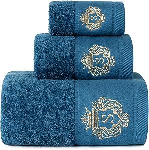 Sunshinejing WDTBFY 900 GSM Cotton Bath Towel Luxury Hotel & Spa Bathroom Hand Towels Embroidery Washcloth Decoration Bath Sheets (Peacock-Blue)