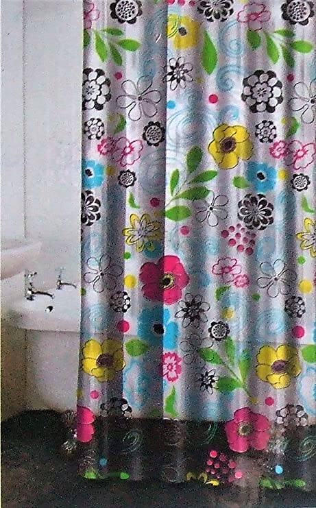 Amazon.com: Multi Fleur PEVA Vinyl Shower Curtain Floral Printed: Home & Kitchen