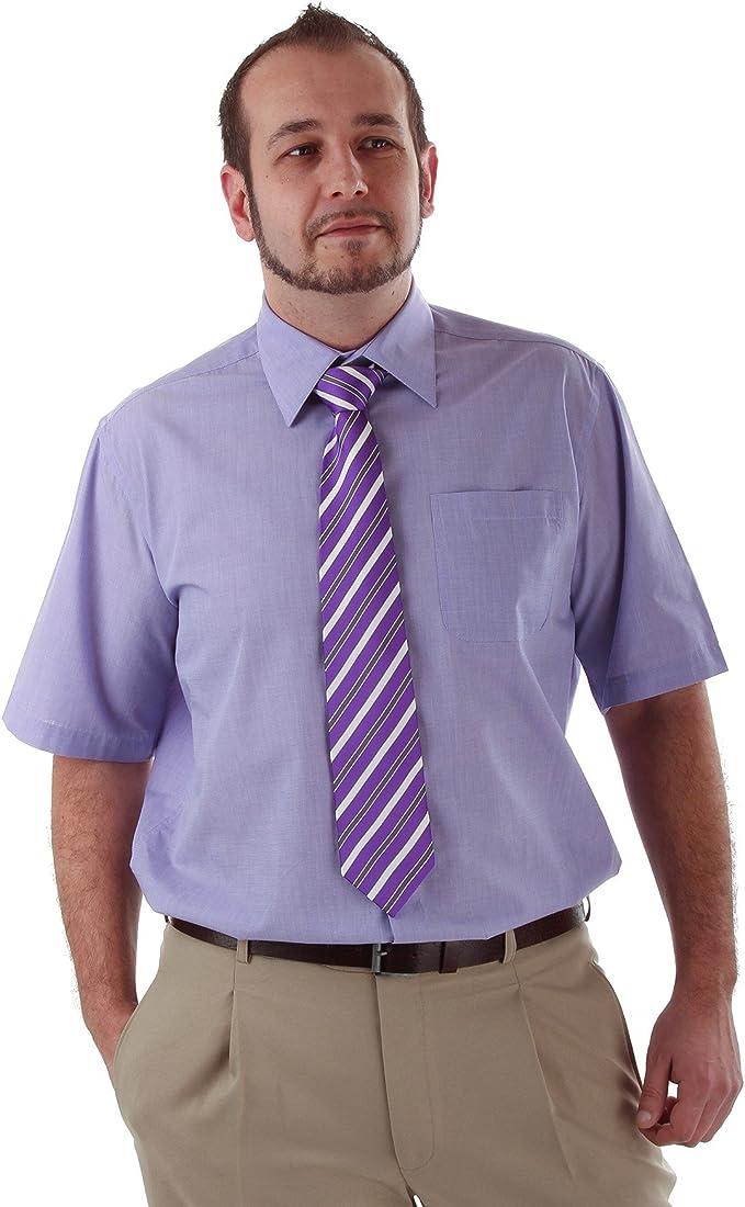 Travel Master Business Manga Corta Camisa con Corbata Morado 42 ...