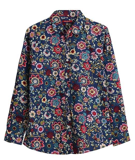 Dioufond Camisas Mujer Estampadas de Flores Manga Larga Blusas Casual para Mujer (ES 38,