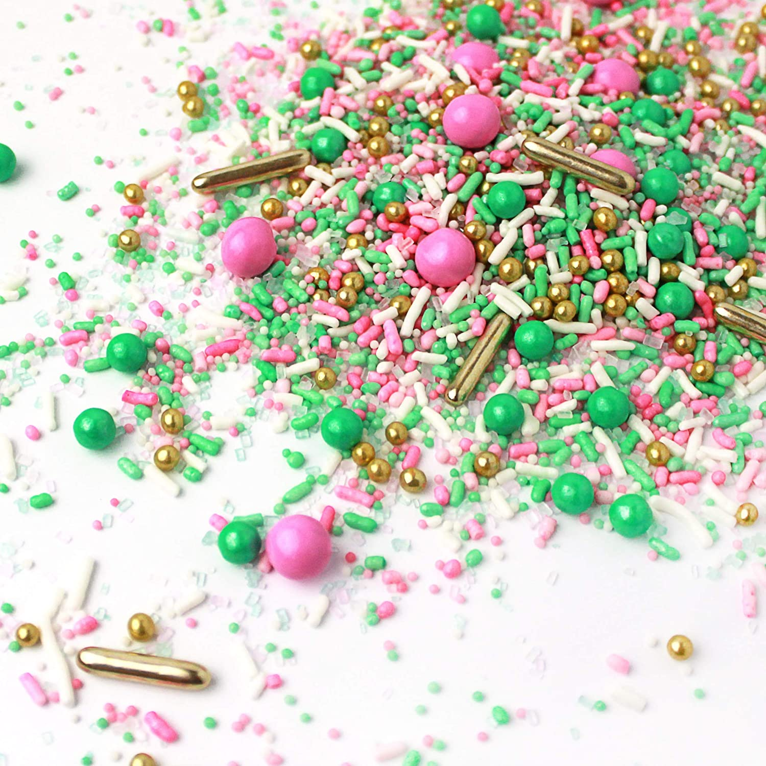 Signature Pink| Pastel White Mint Pastel Ladies Baby Shower Gender Reveal Colorful Candy Sprinkles Mix For Baking Edible Cake Decorations Cupcake Toppers Cookie Decorating Ice Cream Toppings, 4OZ