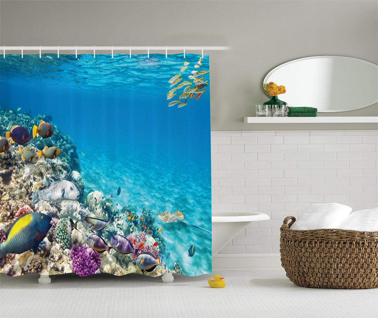Ambesonne Ocean Decor Collection, Clear Underwater Sea Animal World with Corals and Tropical Fishes and a Stingray Egyptian Sea Picture, Polyester Fabric Bathroom Shower Curtain, Aqua Blue Yellow