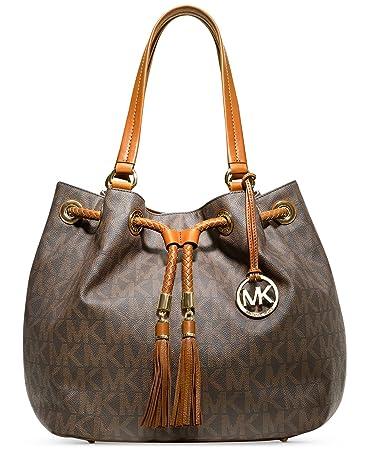 c751afa0f3 Amazon.com  Michael Kors Jet Set NS Large Gathered Tote Handbag (Brown  Logo Gold)  Shoes
