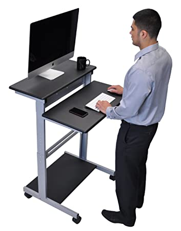 32 mobile ergonomic stand up desk computer workstation black shelves with silver frame