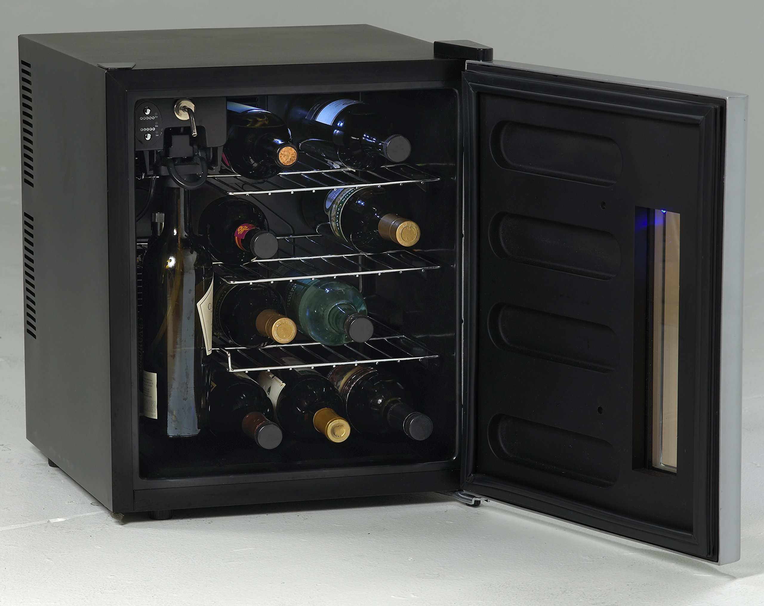 Avanti WCP13-IS 18'' Wine Chiller Preserver/ Dispenser with 13 Bottle Wine Preservation Argon Gas Wine Preservation Thermoelectric Cooling System and Interior LED Lighting in