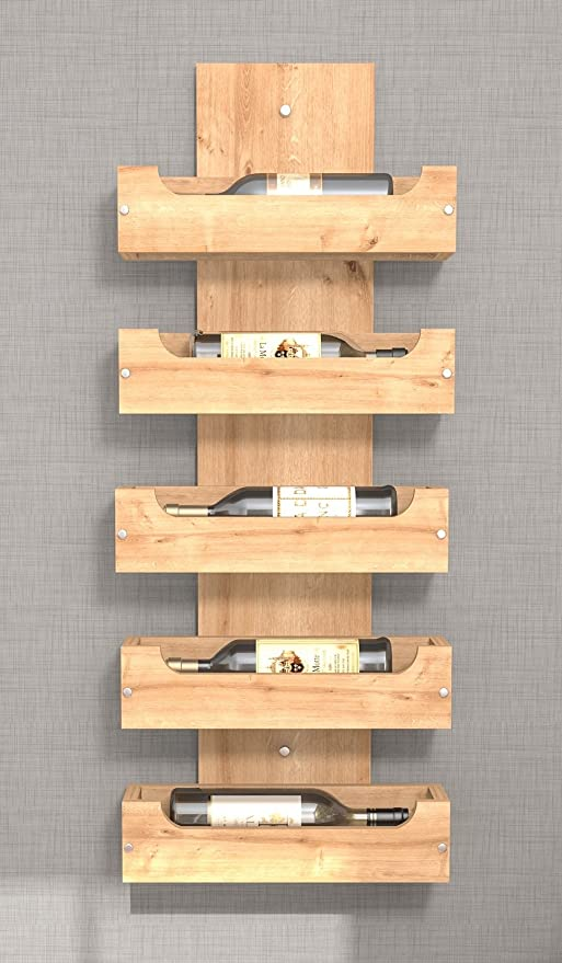 ZOE Portabottiglie da vino a parete in legno - Colore Rovere ...