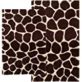 Chesapeake 2-Piece Giraffe 21-Inch by 34-Inch and 24-Inch by 40-Inch Bath Rug Set, Chocolate and Beige