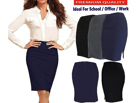 icecoolfashion Womens Pencil Skirt Stretch Bodycon Girls School Work Office