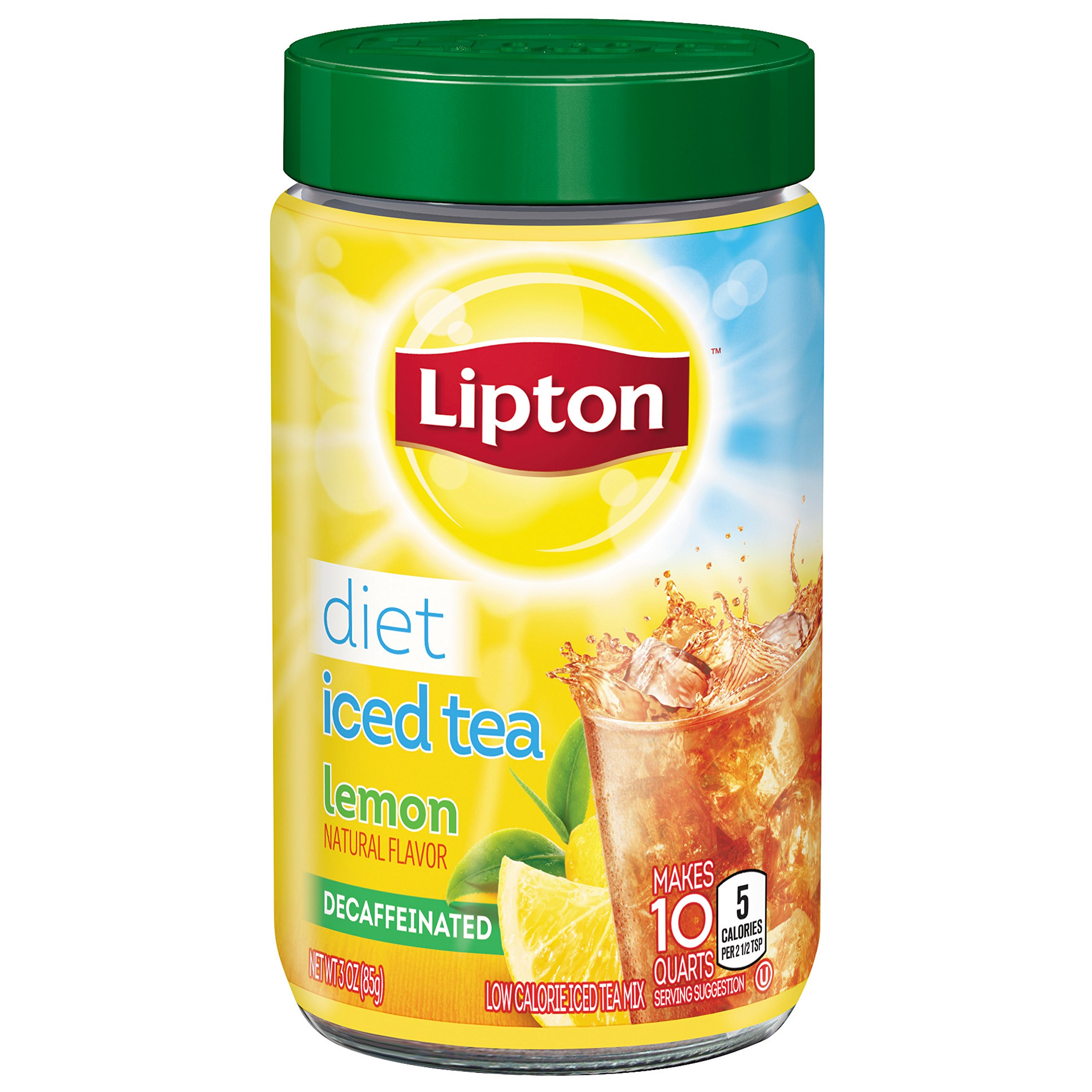 Lipton Iced Tea Mix Diet Decaffeinated Lemon 10 Qt (Pack Of 4) 12