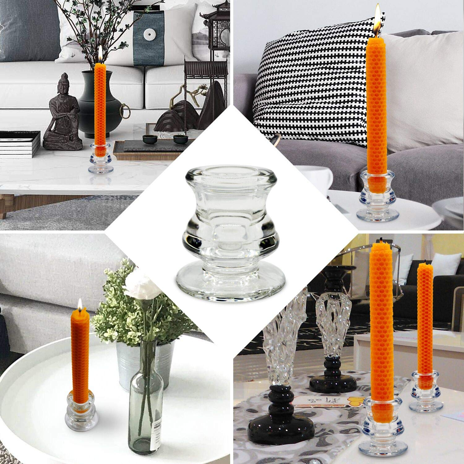Party Dinning Decorative Taper Candlestick Holder for Wedding NIGHTKEY Clear Glass Taper Candle Holder Set of 2