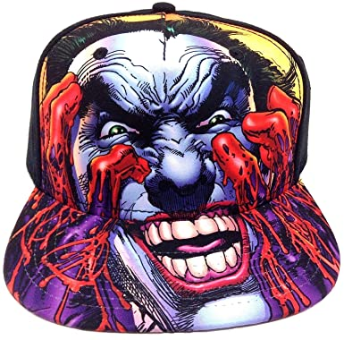 f06a2440 DC Comics The Joker Big Face Blood Snapback Hat Cap: Amazon.co.uk: Clothing