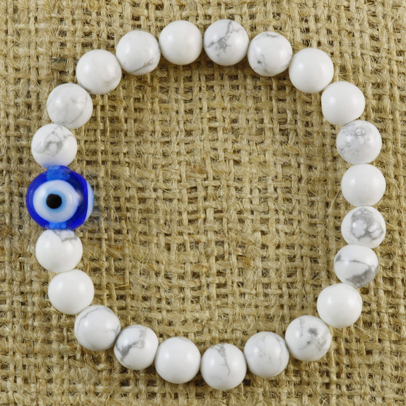 Natural White Howlite Beaded Blue Evil Eye Talisman Good Luck Handmade Stretch Bracelet 7''