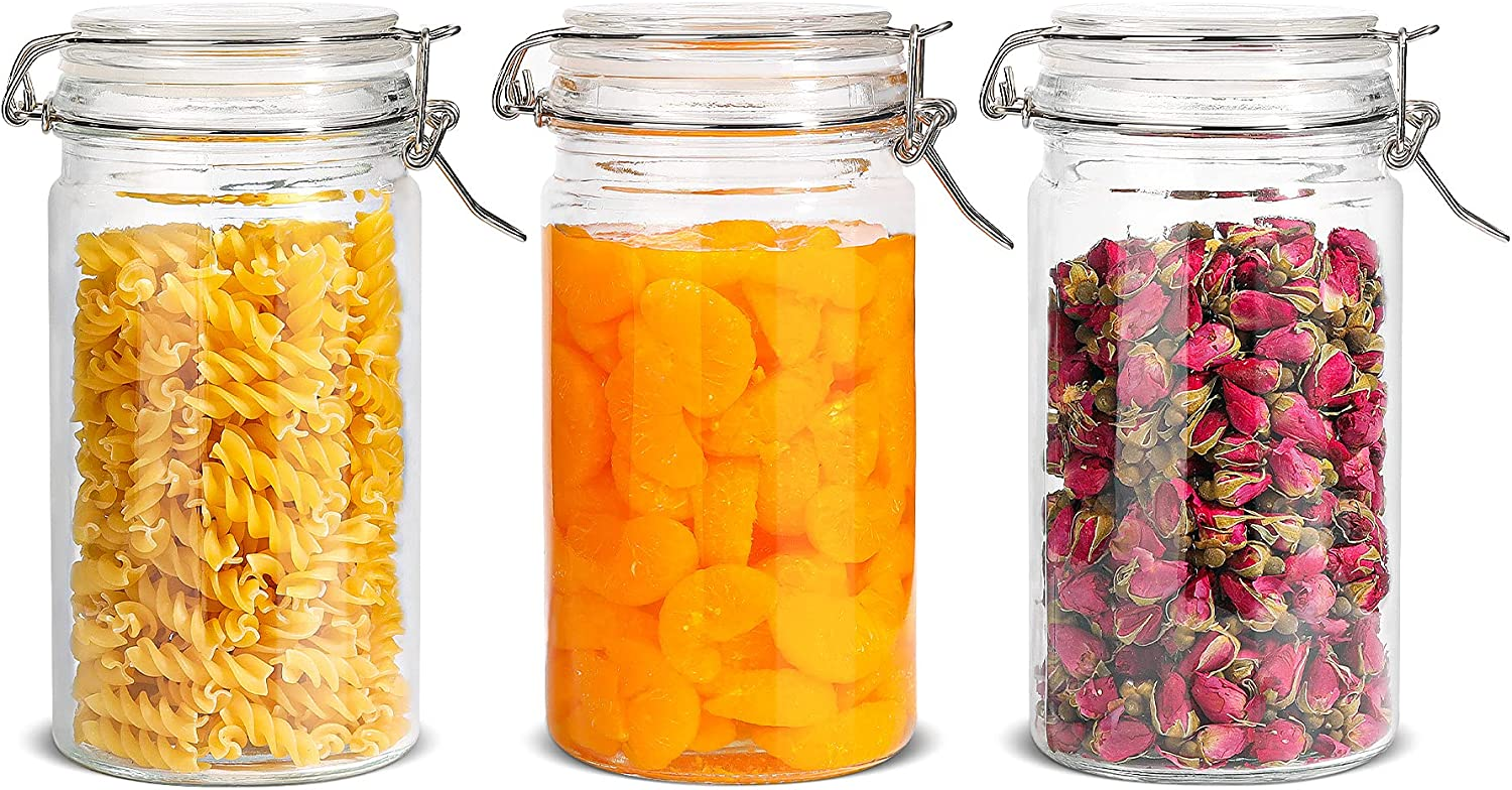 ComSaf Airtight Glass Canister with Lid Set of 3, 40oz Food Storage Jar, Storage Container with Seal Wire Clamp Fastening for Kitchen Fermenting Preserving Canning Pasta Flour Cereal