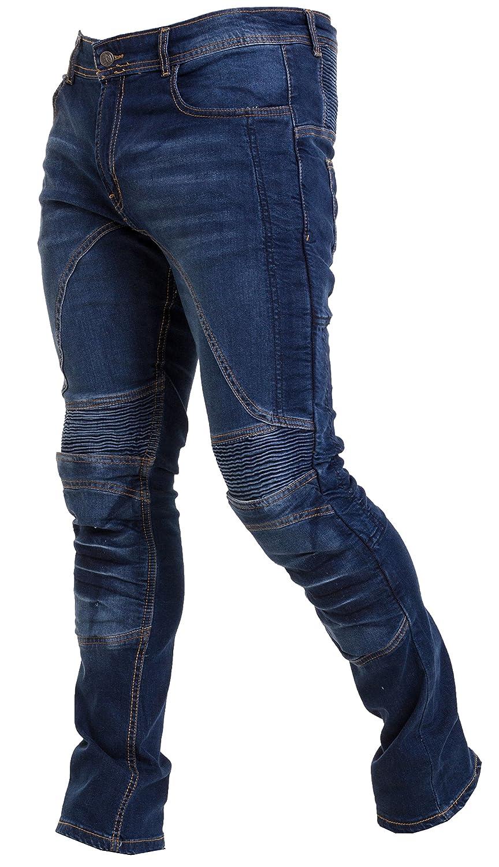 Qaswa Uomo Moto Biker Jeans Rinforzato Protezione Pantaloni Linning Includono Armature Motorcycle Pants
