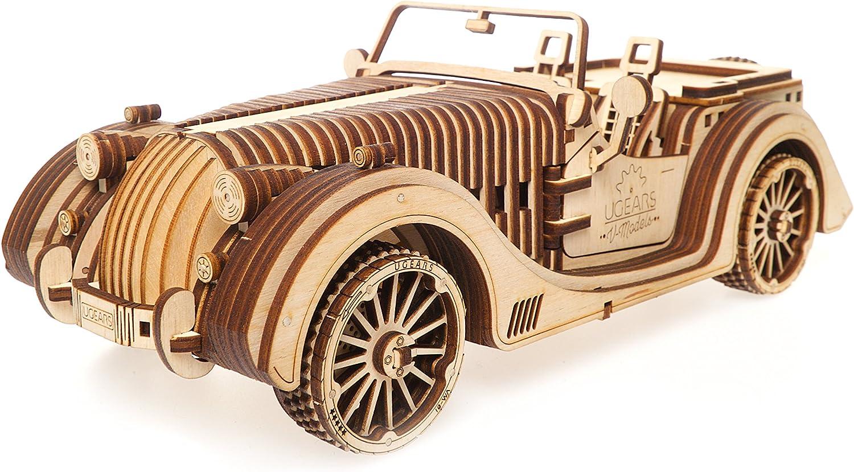UGEARS Roadster VM-01 - 3D Puzzle de Madera Coche Deportivo - Gran Regalo para Amantes de Coches DIY
