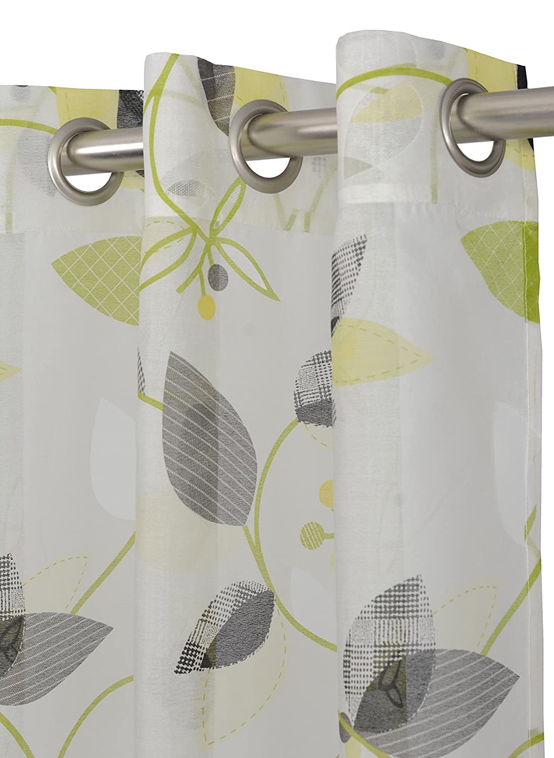 LJ Home Fashions Thyme Sheer Botanical Leaf Print Grommet Curtain Panels 52x95-in White//Green//Charcoal Grey Set of 2