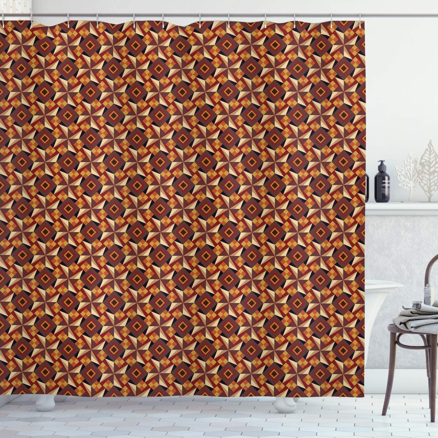 "Ambesonne Modern Shower Curtain, Retro 60s 70s Vintage Geometrical Rounds Triangles Pattern Art Image, Cloth Fabric Bathroom Decor Set with Hooks, 70"" Long, Dark Orange"