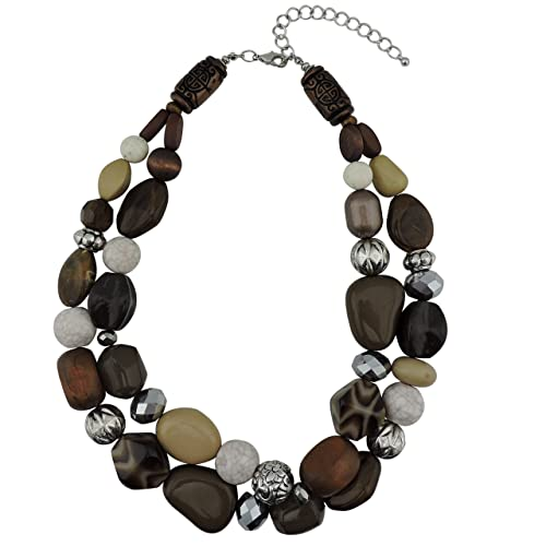 BOCAR Fashion Long Chunky Cryastl Beads Necklace and Earrings Set for Women Gift jVcgT6vR