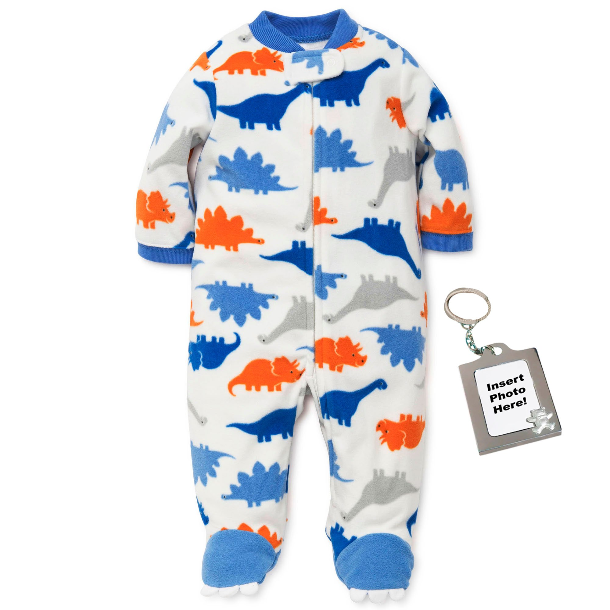 b4b734f293 Amazon.com  Little Me Dinosaur Footed Infant Blanket Sleeper Baby Pajamas  Off White 18 Month  Baby