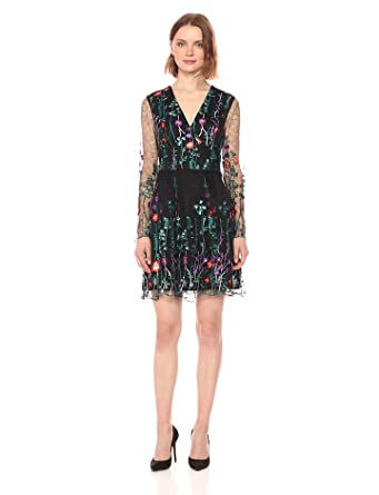 Bebe Womens Long Sleeve Floral Embroidered Fit Flare Dress At
