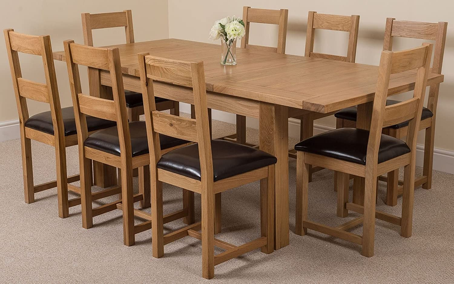 Seattle Solid Oak (180 Cm   210 Cm) Extending Dining Table U0026 8 Lincoln  Chairs: Amazon.co.uk: Kitchen U0026 Home