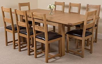 Brilliant Modern Furniture Direct Seattle Extending Kitchen Solid Oak Dining Table 8 Lincoln Oak Leather Chairs 100 Solid Oak 150 180 210Cm Extending Inzonedesignstudio Interior Chair Design Inzonedesignstudiocom