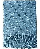 "Bourina 纹理纯色柔软沙发套针织装饰毯,127 cm x 152.4 cm 蓝色 50""x60"" BORI-KnittedThrow-Blue"