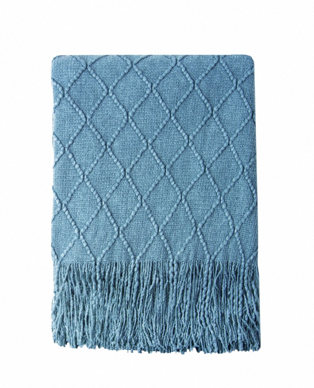 Bourina Throw Blanket Textured Solid Soft for Sofa Couch Cover Decorative Knitted Blanket, 50'' x 60'', Blue