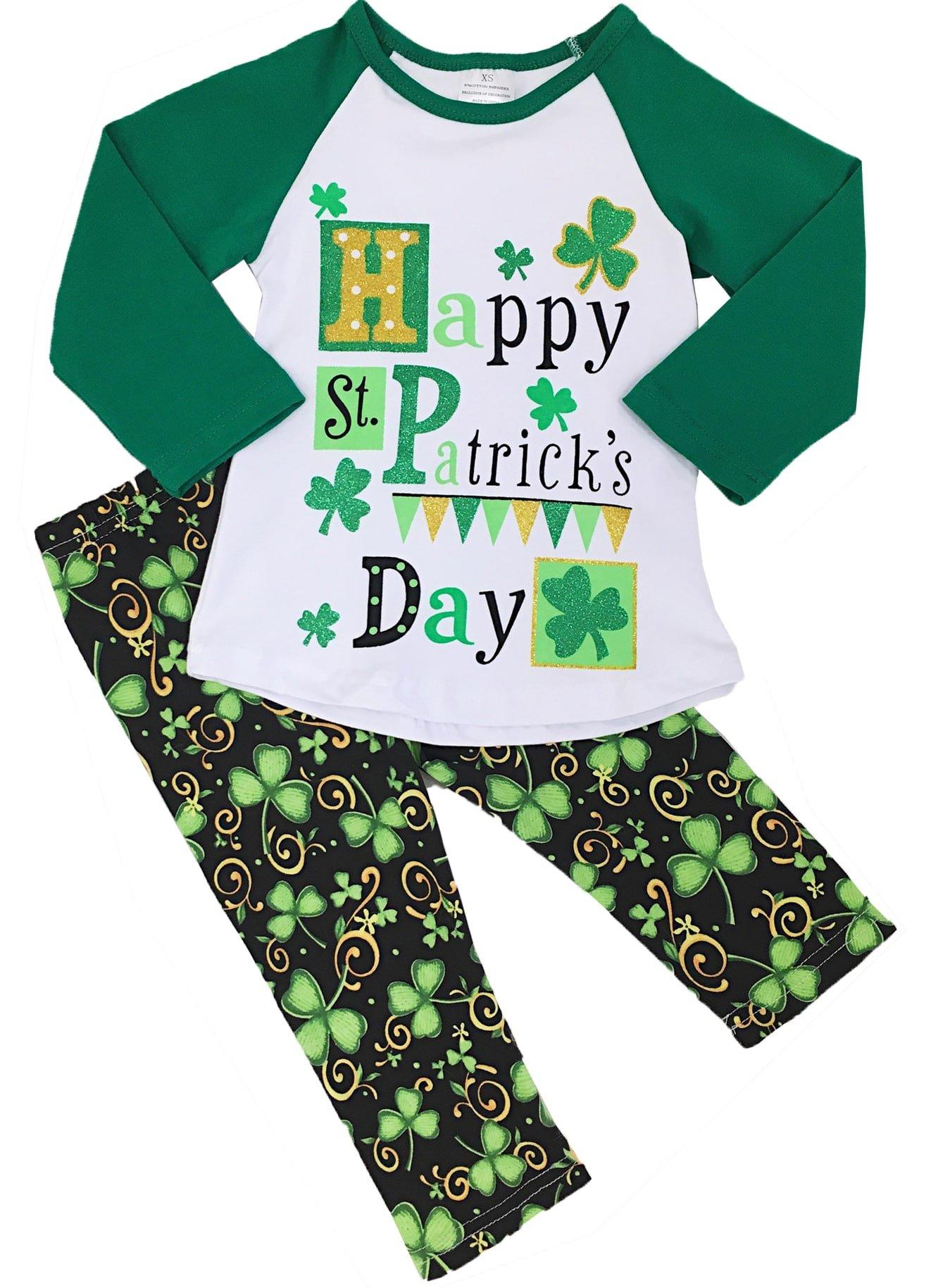 Angeline Girls Saint Patricks Day Happy Saint Patricks Day Legging Set 2T