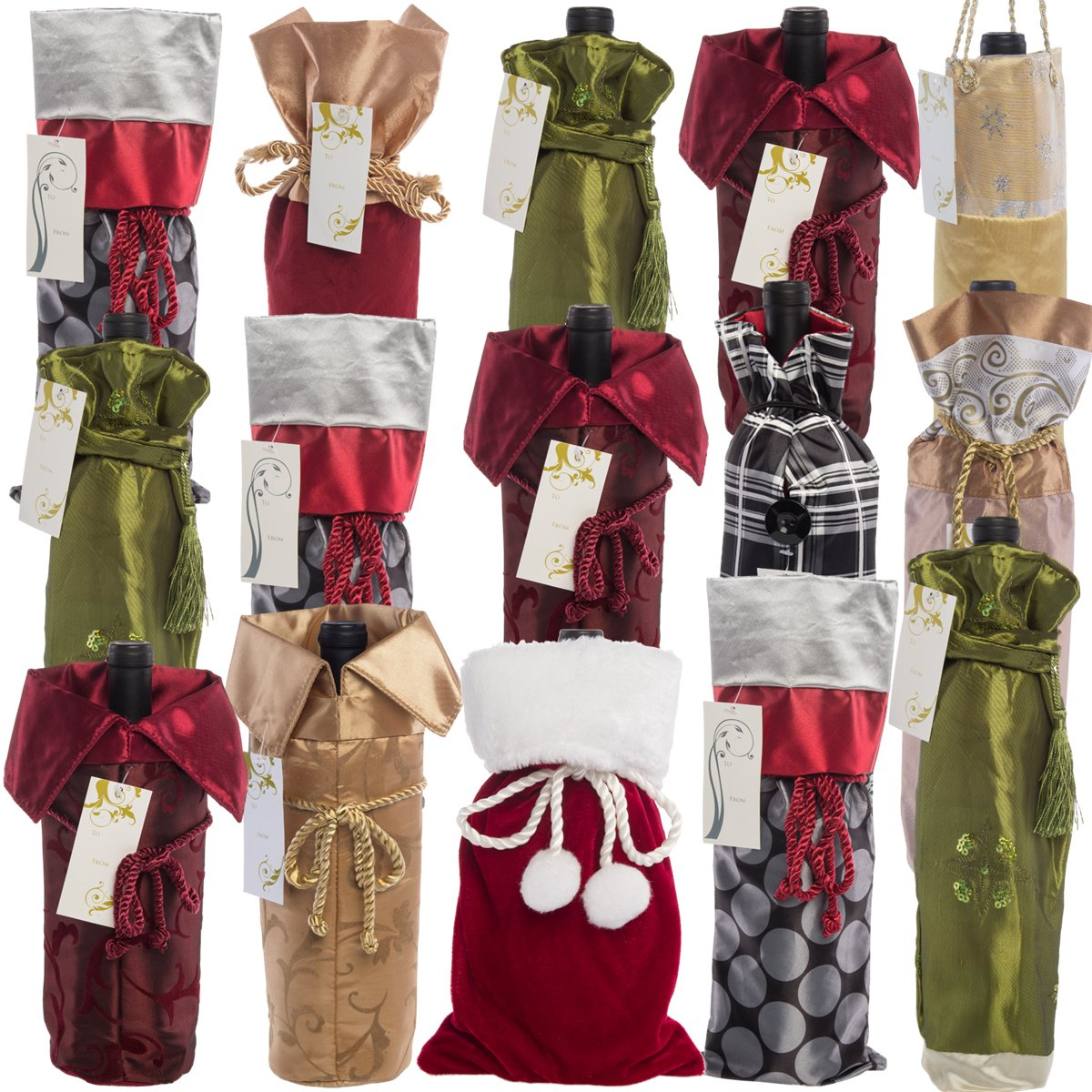 For Keeps 15 Pack Wine Bottle Holder Gift Bags For Reds Whites Bulk Set Lot Large Reusable