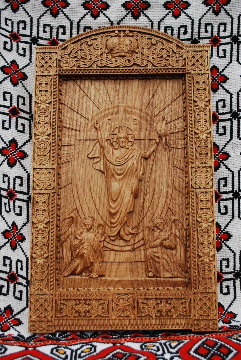 Religious icon Resurrection of Christ Wood Carvings religious wall art easter gift christian home decor FREE ENGRAVING
