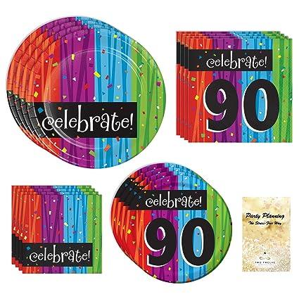 Amazon.com: Pack de fuente de fiesta de 90o cumpleaños ...