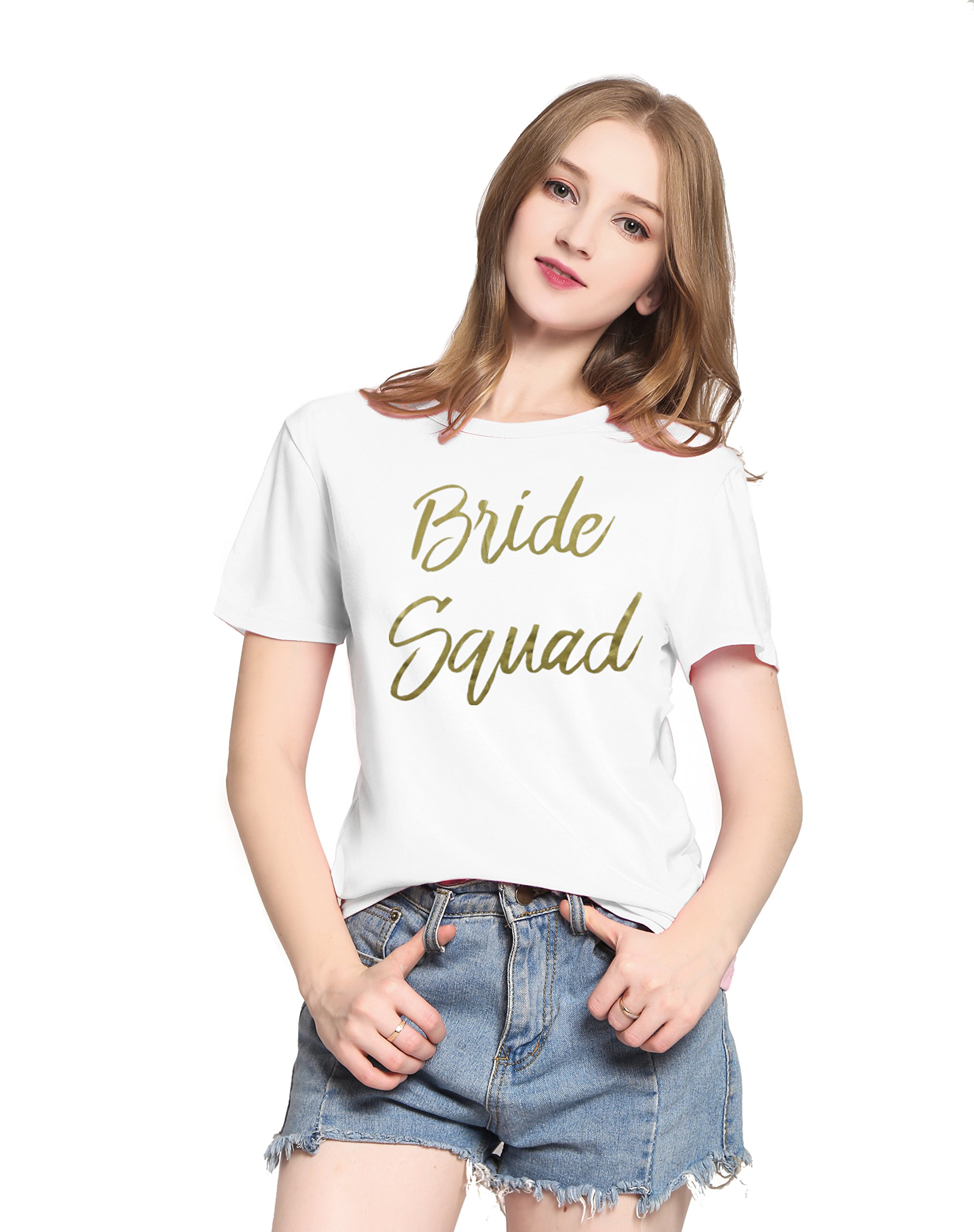 PINJIA Womens Cotton Wedding Bride Bachelorette Party Tshirts Top Tees Gift (XXXL,Gold White Bride Squad)