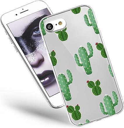 QULT Custodia Compatibile con Cover iPhone SE 2020, iPhone 7/8 Trasparente Silicone Fiori Morbida Chiaro Cristallo Anti-Scratch Bumper Case con ...