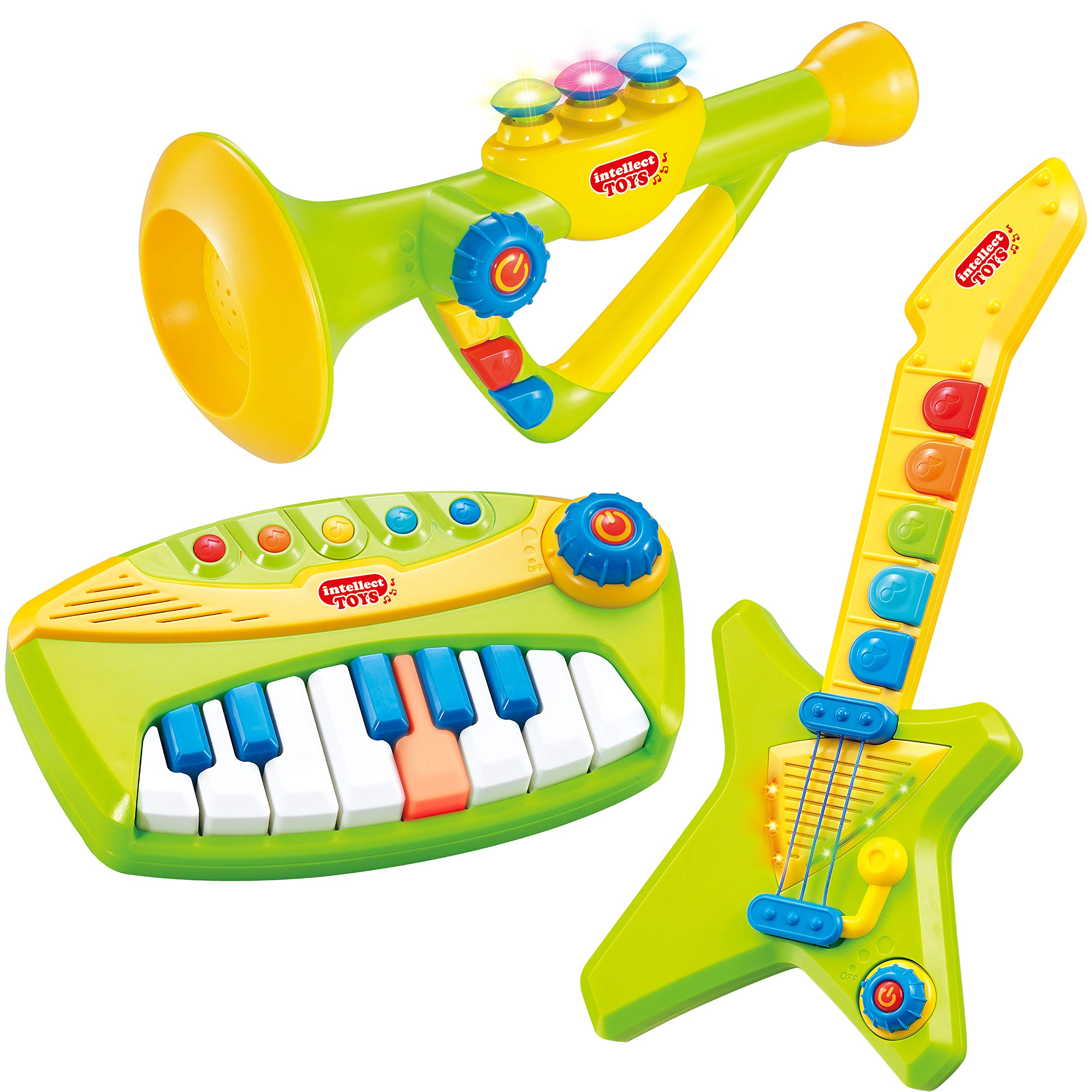 Top Right Toys 3 in 1 Musical Instrument Set Piano, Guitar and Trumpet Combo for Toddlers- with Sound, Lights and Popular Pre-Recorded Songs by Top Right Toys