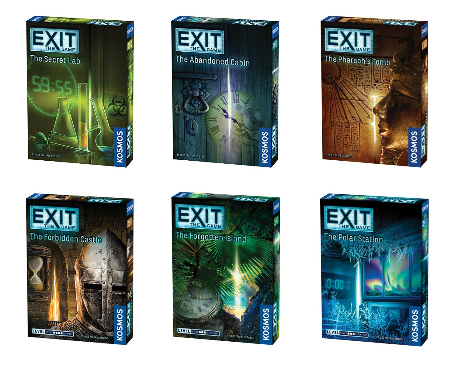 Thames & Kosmos Exit the Game Bundle of 6: The Secret Lab, The Abandoned Cabin, The Pharaoh's Tomb, The Forbidden Castle, The Polar Station, and The Forgotten Island