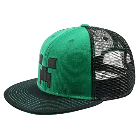fcb85d501e2 Image Unavailable. Image not available for. Color  JINX Minecraft Creeper  Face Snapback Baseball Hat (Green ...