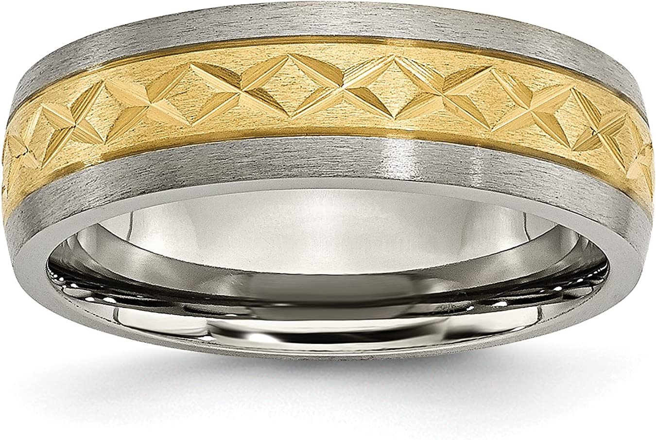 Titanium 7mm Yellow IP-Plated X Design Grooved Satin Band