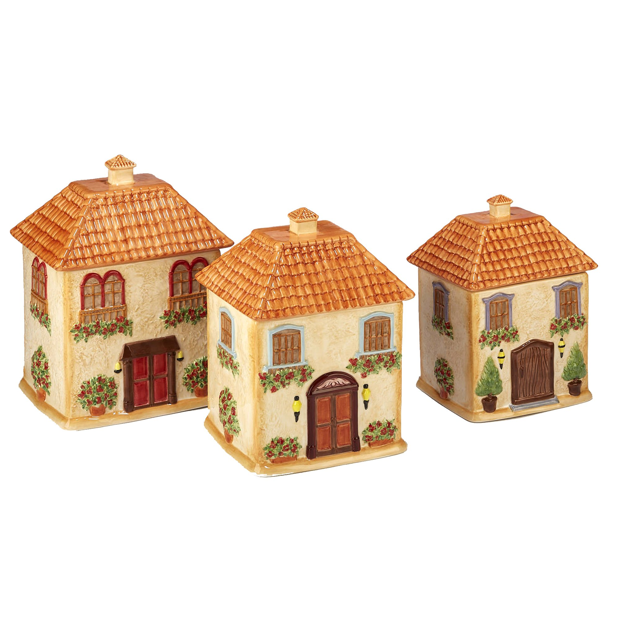 Certified International Corp 23683 Piazzette 3-D Villa House 3 piece Canister Set Multicolor