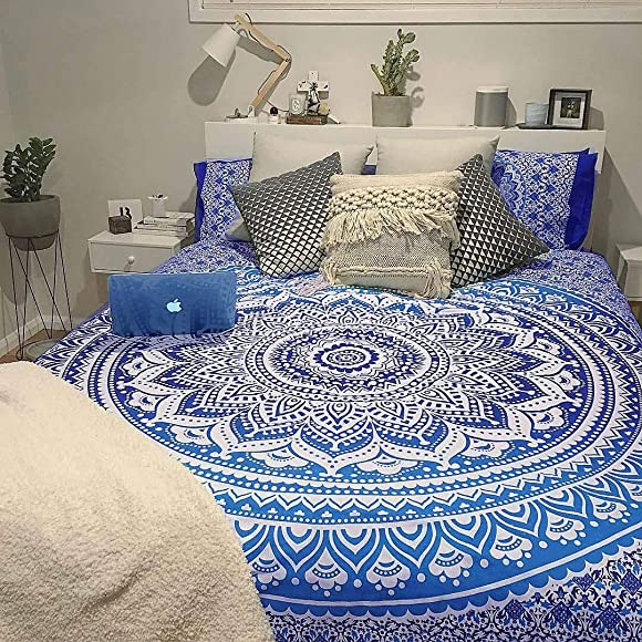 THE ART BOX Tapestry Blue Mandala Wall Hanging Psychedelic Tapestries Indian Cotton King Bedspread Picnic Sheet Wall Decor Blanket Wall Art Hippie Bedroom Decor