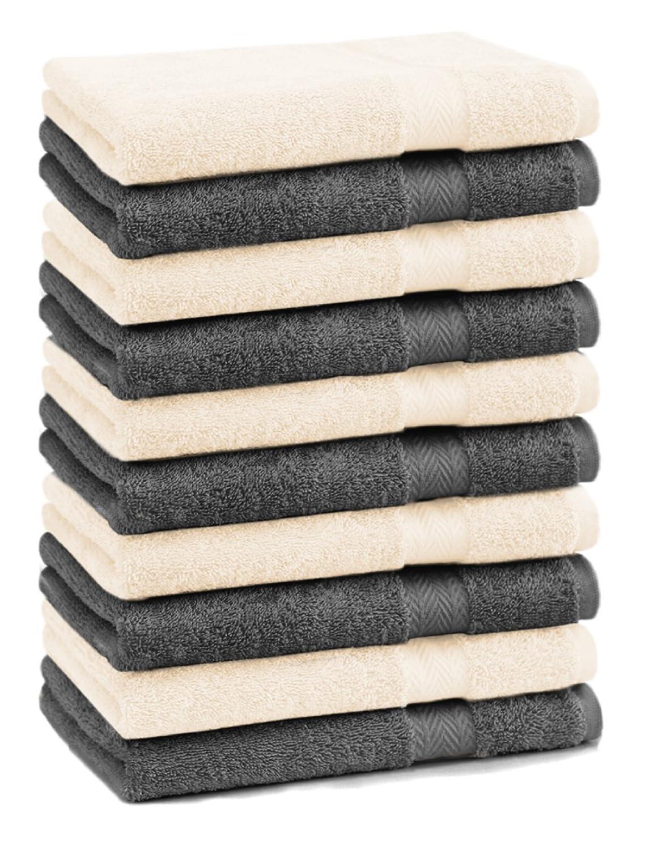 Betz Pack of 10 Wash Cloths Flannel Towels PREMIUM 100% Cotton 30x30 cm (beige & anthracite grey)