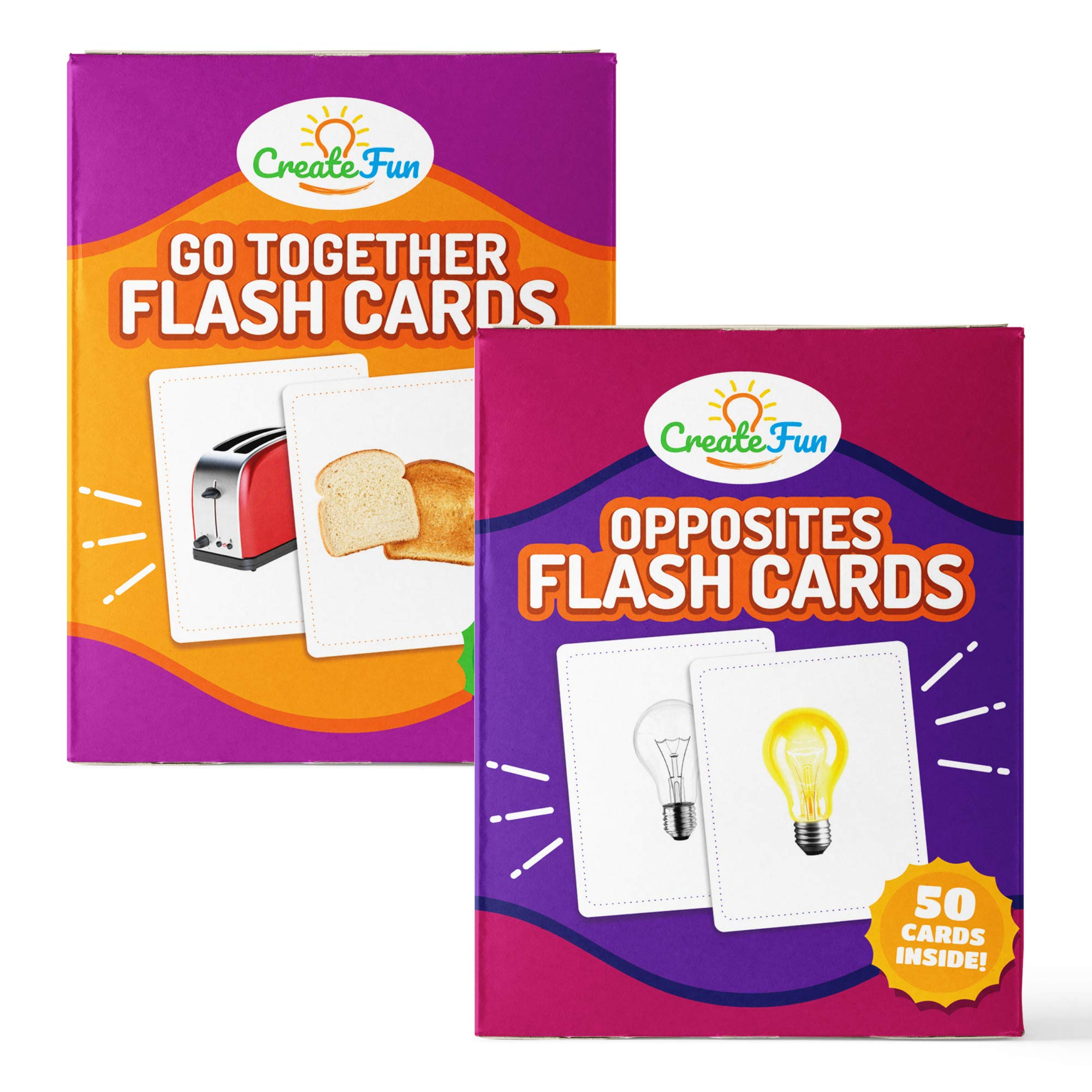 Go Together and Opposites Flash Cards Gift Set | 100 Matching Educational Photo Cards | 7 Starter Learning Games | For Your Classroom, Parents, Speech Therapy Materials and ESL Teaching Materials by CreateFun