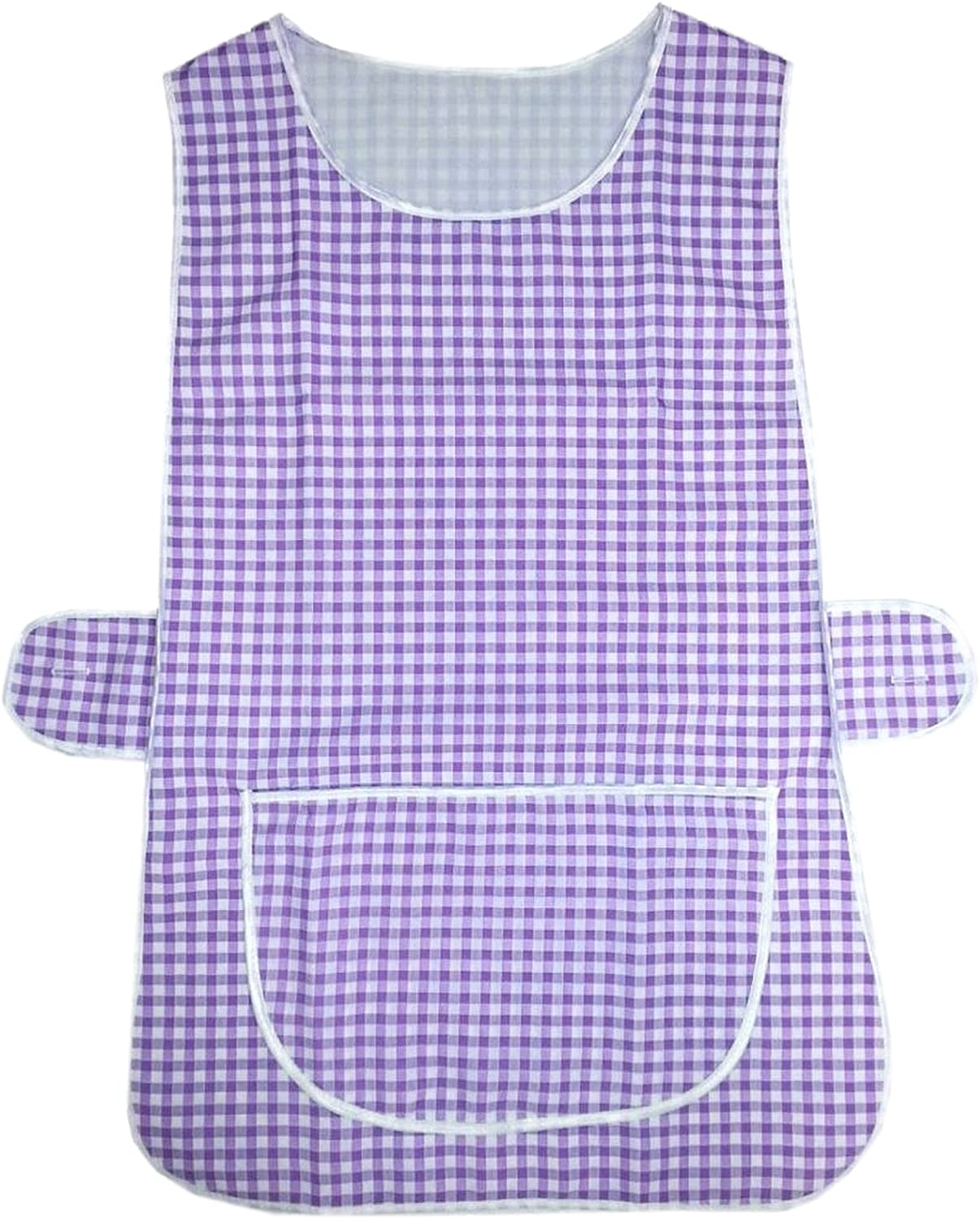 MyShoeStore Check Tabard Ladies Womens Home Work Kitchen Cleaning Chef Catering Cleaners Workwear Overall Piping Edge Checkered Tabbard Apron Large Pocket Side Button Fastening