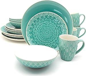 Euro Ceramica Peacock Collection Dinnerware Set, Service for 4, Lagoon