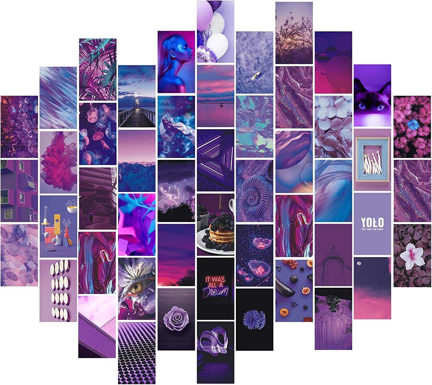 Msaaex Wall Collage Kit Aesthetic Pictures Bedroom Decor for Teen Girls Purple & Pink Posters with Double Sided Tape for Room Aesthetic - Best Gift- 50 Pcs